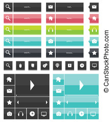 Web elements and icons flat design