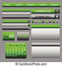 Web Elements Design Gray Green