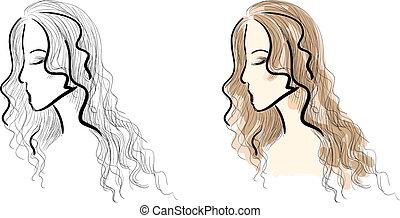 Web - Eps 10 vector sketches set. Beautiful girl's face...