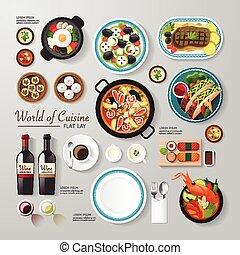 web, essere, disposizione, cibo, affari, lattina, disposizione, concept., idea., illustrazione, vettore, infographic, usato, appartamento, pubblicità, design., hipster
