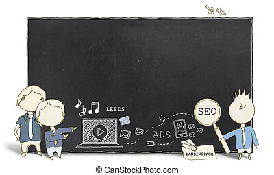 Web Experts with Blank Blackboard