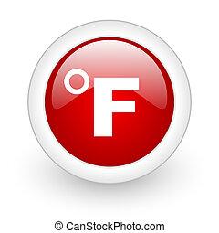 web, fahrenheit, lucido, fondo, icona, cerchio, bianco rosso