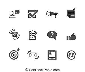 web, feedback, icone, set