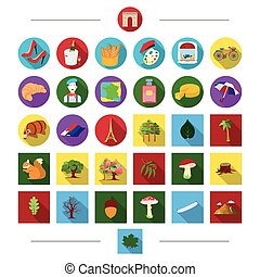 web, feste, set, icone, collection., protezione, cartone animato, cosmetica, altro, arti, turismo, style.ecology, icona