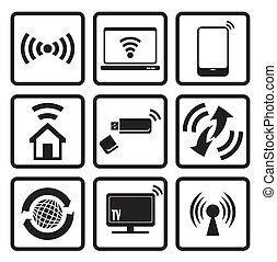web fili, set, icone tecnologia