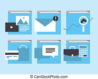 web, finanziario, servizio, icone affari