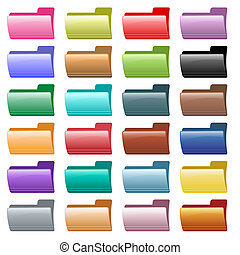 Web folder icons in 24 assorted glossy colors. Isolated on white.