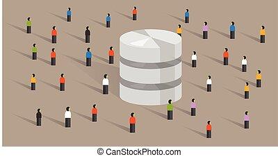 web, folla, persone, grande, database, hosting, insieme, server, diviso, dati