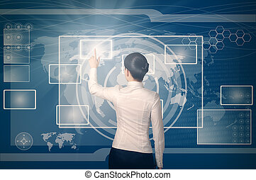 web, frau, button, schiebt, virtuell, schnittstelle