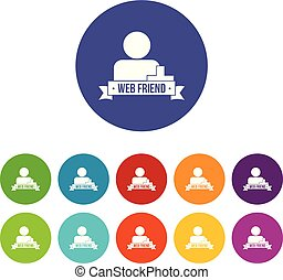 Web friends icons set vector color