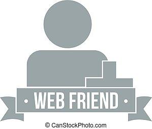 Web friends logo, simple gray style