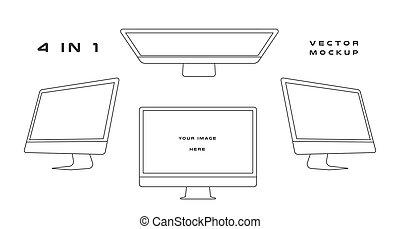web, gebruiken, vector, monitor, mockup., whitebackground., vrijstaand, kits., gadget, presentatie, computer, ontwerp, groenteblik, mal, apparaat, black , ui, elektronisch, schets