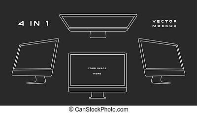 web, gebruiken, vector, monitor, presentatie, mockup., ui, vrijstaand, kits., gadget, achtergrond., computer, ontwerp, groenteblik, mal, apparaat, black , witte , elektronisch, schets