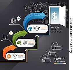 web, gebruikt, timeline., zakelijk, trap, zijn, op, opties, workflow, getal, groenteblik, opmaak, diagram, infographics., vector, deuropening, conceptueel, stap, illustration., ontwerp, spandoek