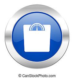 web, gewicht, blauwe , chroom, vrijstaand, pictogram, cirkel