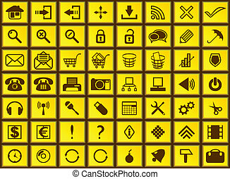 web, giallo, icons.