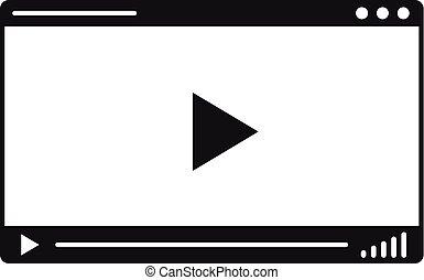 web, giocatore, icona, video, stile, semplice