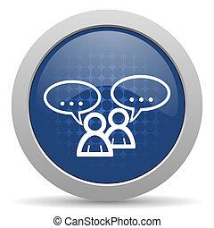 web, glänzend, blaues, forum, ikone