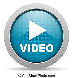 web, glänzend, blaues, video, ikone, kreis