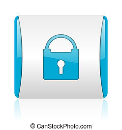 web, glänzend, quadrat, blaues, ikone, schützen, weißes