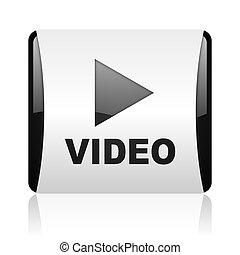 web, glänzend, quadrat, schwarz, video, ikone, weißes