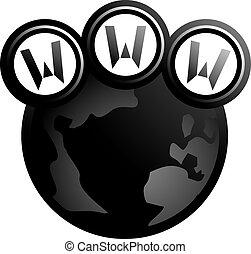 web, globale, nero