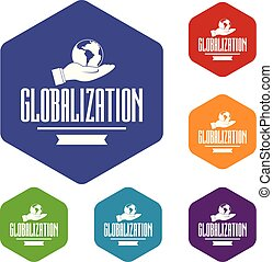 Web globalization icons vector hexahedron