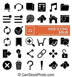 Web glyph icon set, system symbols collection, vector sketches, logo illustrations, media signs solid pictograms package isolated on white background, eps 10.