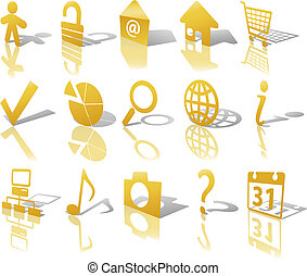 Gold Angled Icon Symbol Set: Globe Security Question Email People, etc. On white with shadows & reflections.