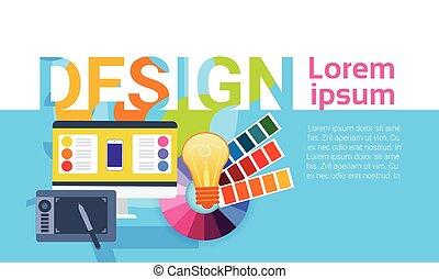 web, grafico, lavoro, progettista, creativo, apparecchiatura, concetto, disegno, bandiera