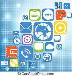 web, grafisch, iconen, kleur, vliegen, interface