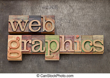 web graphics in wood type