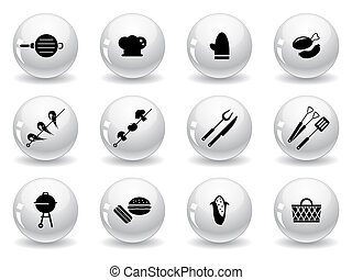 web, grilling, buttons, icons
