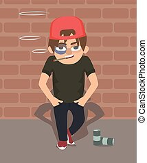 Web - guy with black eye and cigarette vector cartoon -...