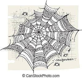 web, halloween, ragno, fondo