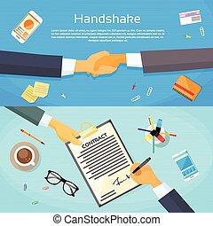 web, handdruk, kantoor, handel document, handen, schudden, op, contracteren, handtekening, pen, papier, bureau, zakenman, meldingsbord, spandoek, man