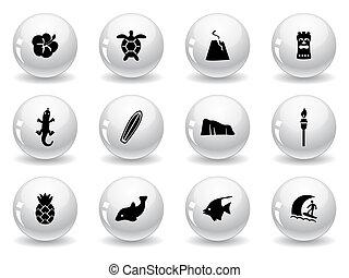 web, hawai, bottoni, icone