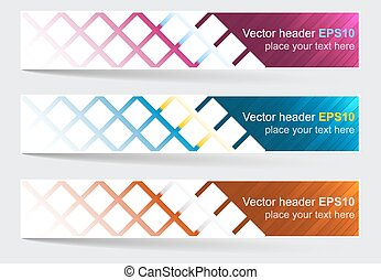 Web header, set of vector banner with square pattern.