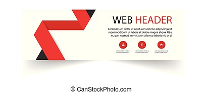Web Header Template Red Ribbon Background Vector Image