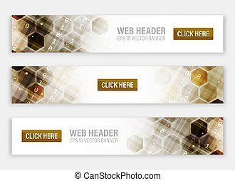 Web headers or banners with abstract vector hexagonal pattern.
