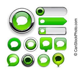 web, high-detailed, bottone, discorso, collection., bolla