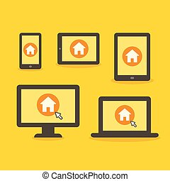Web home page on different devices