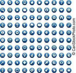 web, honderd, set, iconen
