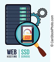 Web hosting design. - Web hosting digital design, vector...