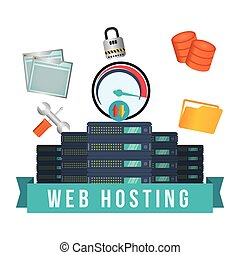 Web hosting design - web hosting concept with cloud...
