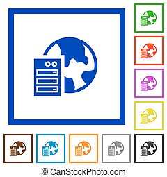 Web hosting framed flat icons