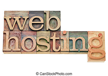web hosting - internet concept - isolated text in vintage ...