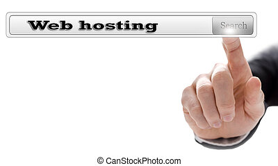 Web hosting written in search bar on virtual screen.
