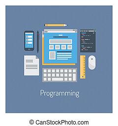 web, html, programmering, illustratie, plat