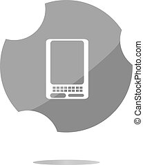 web icon button with smart phone . Trendy flat style sign isolated on white background